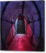 Tunnel And Stairs Bathed In Blue And Red Light Canvas Print