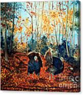 Turkey Dance On The Pond Road Canvas Print