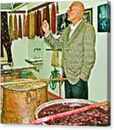 Turkish Rug Salesman Explains About Natural Dye Vats In Weaving Factory In Avanos-turkey  Canvas Print