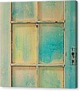 Turquoise And Pale Yellow Panel Door Canvas Print