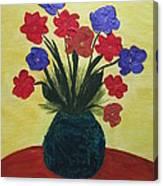 Turquoise Vase On Yellow Canvas Print