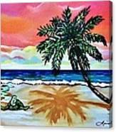 Turtle On Beach Canvas Print