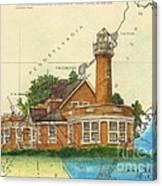 Turtle Rock Lighthouse Pa Chart Map Art  Canvas Print