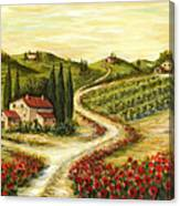 Tuscan Road With Poppies Canvas Print