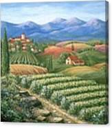 Tuscan Vineyard And Village  Canvas Print