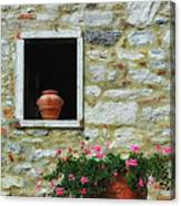 Tuscan Window And Flower Pot Canvas Print