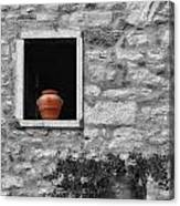 Tuscan Window And Pot Bw And Color Canvas Print