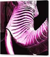 Tusk 2 - Pink Elephant Art Canvas Print