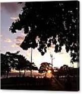Twilight In Santos Beach Park Canvas Print