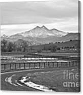 Twin Peaks Mt Meeker And Longs Peak Bw Country Canvas Print