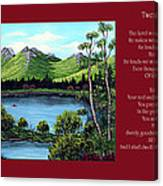 Twin Ponds And 23 Psalm On Red Horizontal  Canvas Print