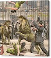 Two Acrobats Fall Into The  Lions' Canvas Print