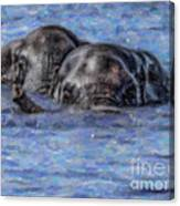 Two African Elephants Swimming In The Chobe River Canvas Print