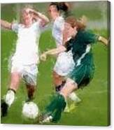 Two Against One Expressionist Soccer Battle  Canvas Print