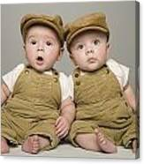 Two Babies In Matching Hat And Overalls Canvas Print