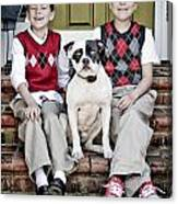 Two Boys And Their Dog Canvas Print