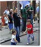 Two Boys Having Some Fun At The 200th Anniversary Of St. Patrick Old Cathedral Canvas Print