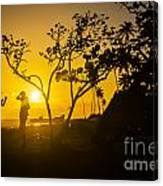 Two Boys Silhouette In Spectacular Golden Sunset  Canvas Print