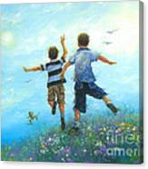 Two Brothers Leaping Canvas Print
