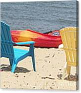 Two Chairs And A Boat Canvas Print