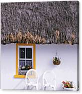 Two Chairs Outside A Cottage, County Canvas Print