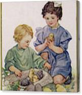 Two Children Play With Chicks Canvas Print