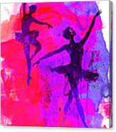 Two Dancing Ballerinas 3 Canvas Print