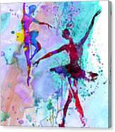 Two Dancing Ballerinas Watercolor 2 Canvas Print