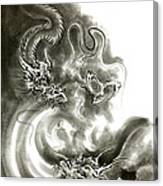 Two Dragons Gold Fantasy Dragon Design Sumi-e Ink Painting Dragon Art Canvas Print