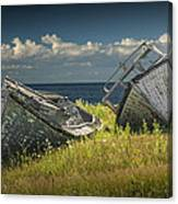 Two Forlorn Abandoned Boats On Prince Edward Island Canvas Print