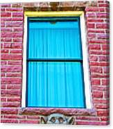 Two Gargoyle-like Figures Above And Below Window Of Moore Block In Pipestone-minnesota Canvas Print