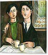 Two Gay Men In A Paris Cafe Canvas Print