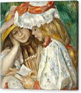 Two Girls Reading Canvas Print