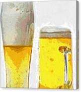 Two Glass Of Beer Painting Canvas Print