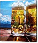 Two Glasses Of Beer With Mountains Canvas Print