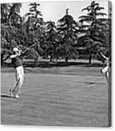 Two Golfers Body English Canvas Print