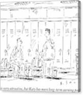 Two Guys Talk About Girls In The Locker Room Canvas Print