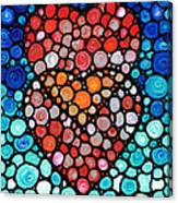 Two Hearts - Mosaic Art By Sharon Cummings Canvas Print