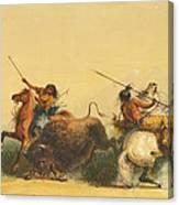 Two Indians Killing A Buffalo Canvas Print