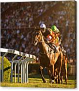 Two Jockeys During Horse Races Canvas Print