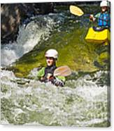 Two Kayakers On A Fast River Canvas Print