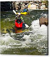 Two Kayakers On A Whitewater Course Canvas Print