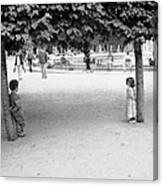 Two Kids In Paris Canvas Print