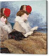 Two Ladies In A Carriage Ride Canvas Print