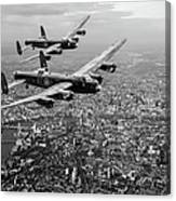 Two Lancasters Over London Black And White Version Canvas Print
