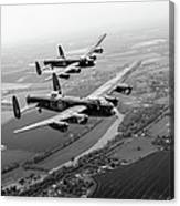 Two Lancasters Over The Upper Thames Black And White Version Canvas Print
