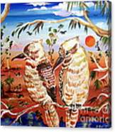 Two Laughing Kookaburras In The Outback Australia Canvas Print