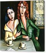 Two Lesbians In A Paris Cafe Canvas Print