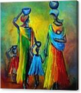 Two Little Girls Carrying Water Canvas Print