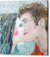 Two Lovers Kissing Canvas Print